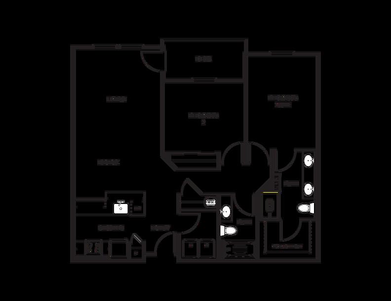 Floor Plan C3 - 2 Bedroom, 2 Bath