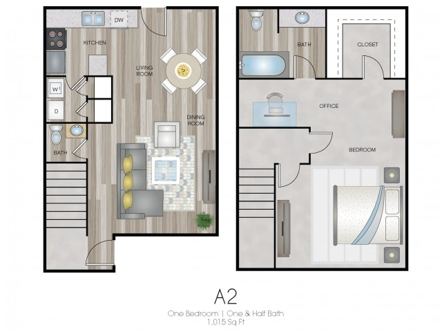 One Bedroom, One & Half Bath Townhome