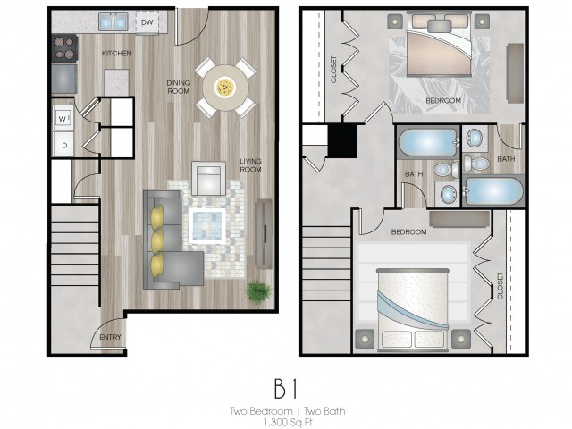 Two Bedroom, Two & Half Bath Townhome