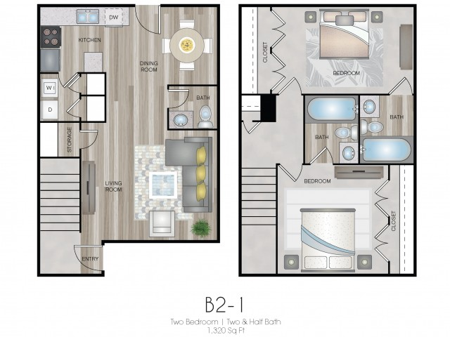 Two Bed, Two & Half Bath Townhome
