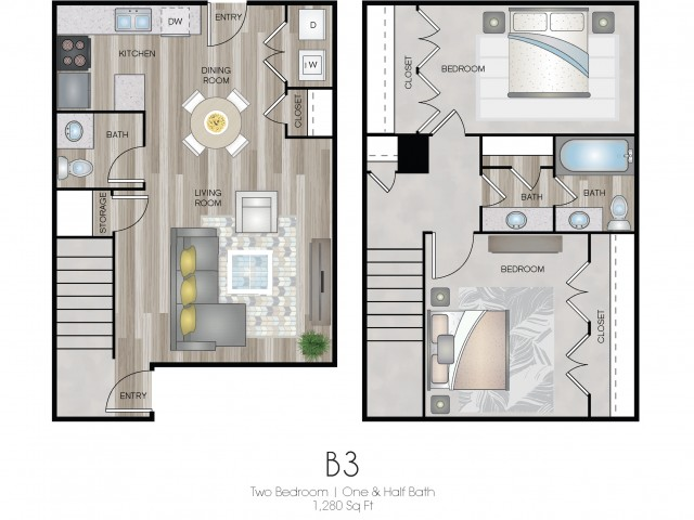 Two Bed, One & Half Bath Townhome