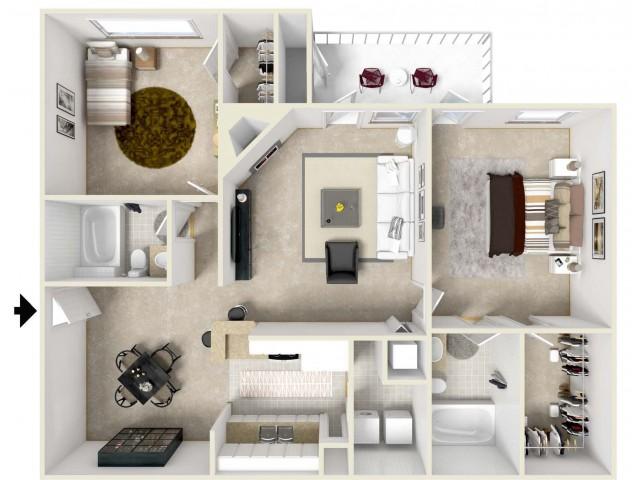Two Bedroom & Two Bathroom Split Style