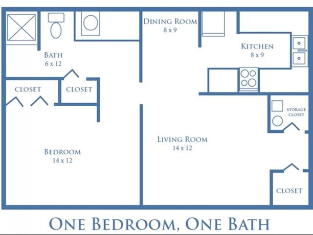 One Bedroom, One Bath - 750 sq. ft.