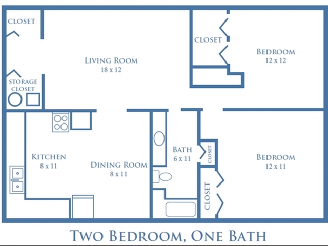 Two Bedroom, One Bath - 950 sq. ft.