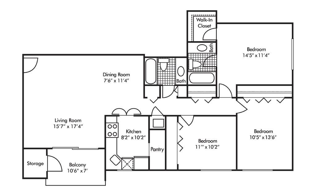3 bedroom 2 bathrooms