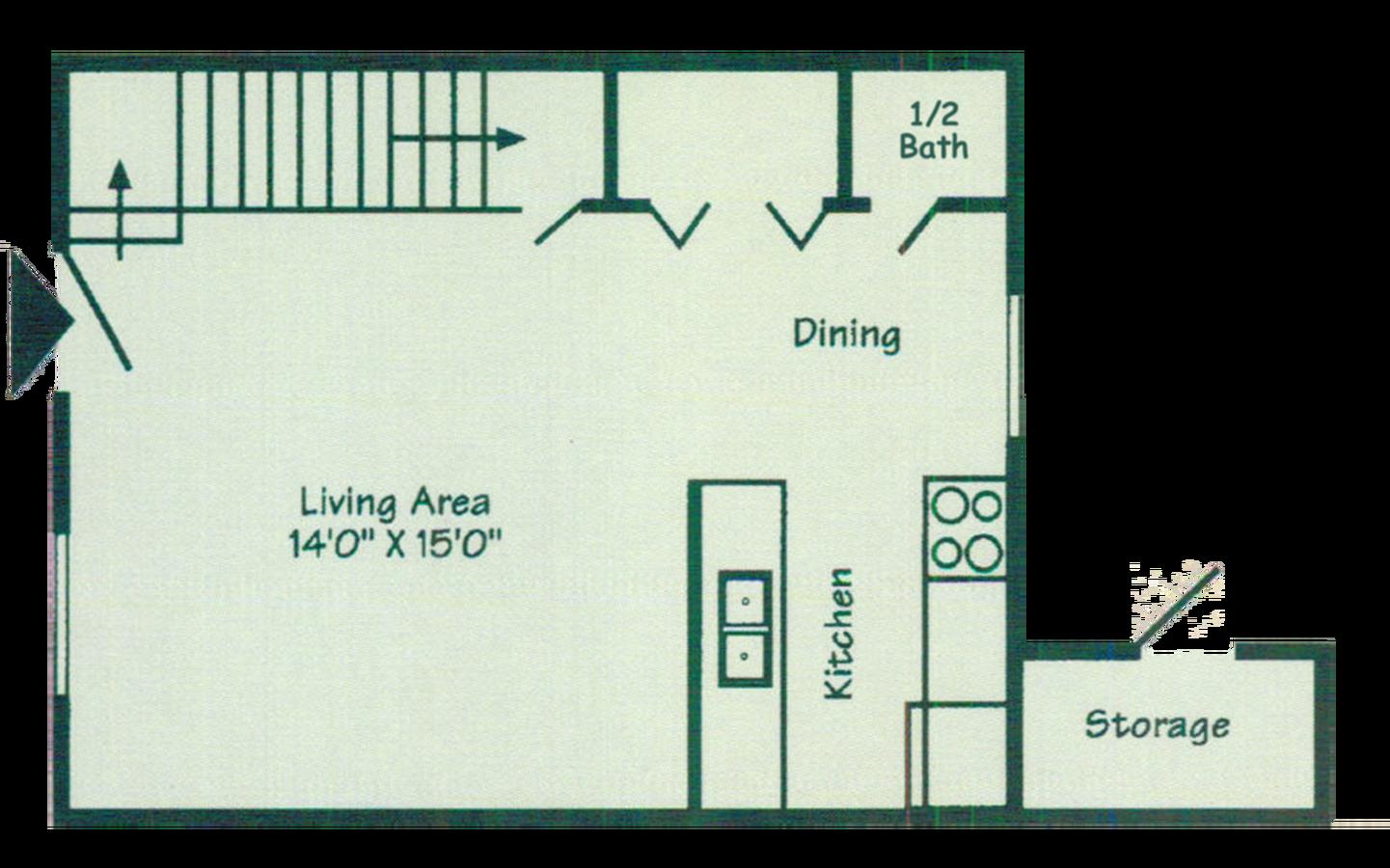 2 Bedroom 1.5 Bath downstaires