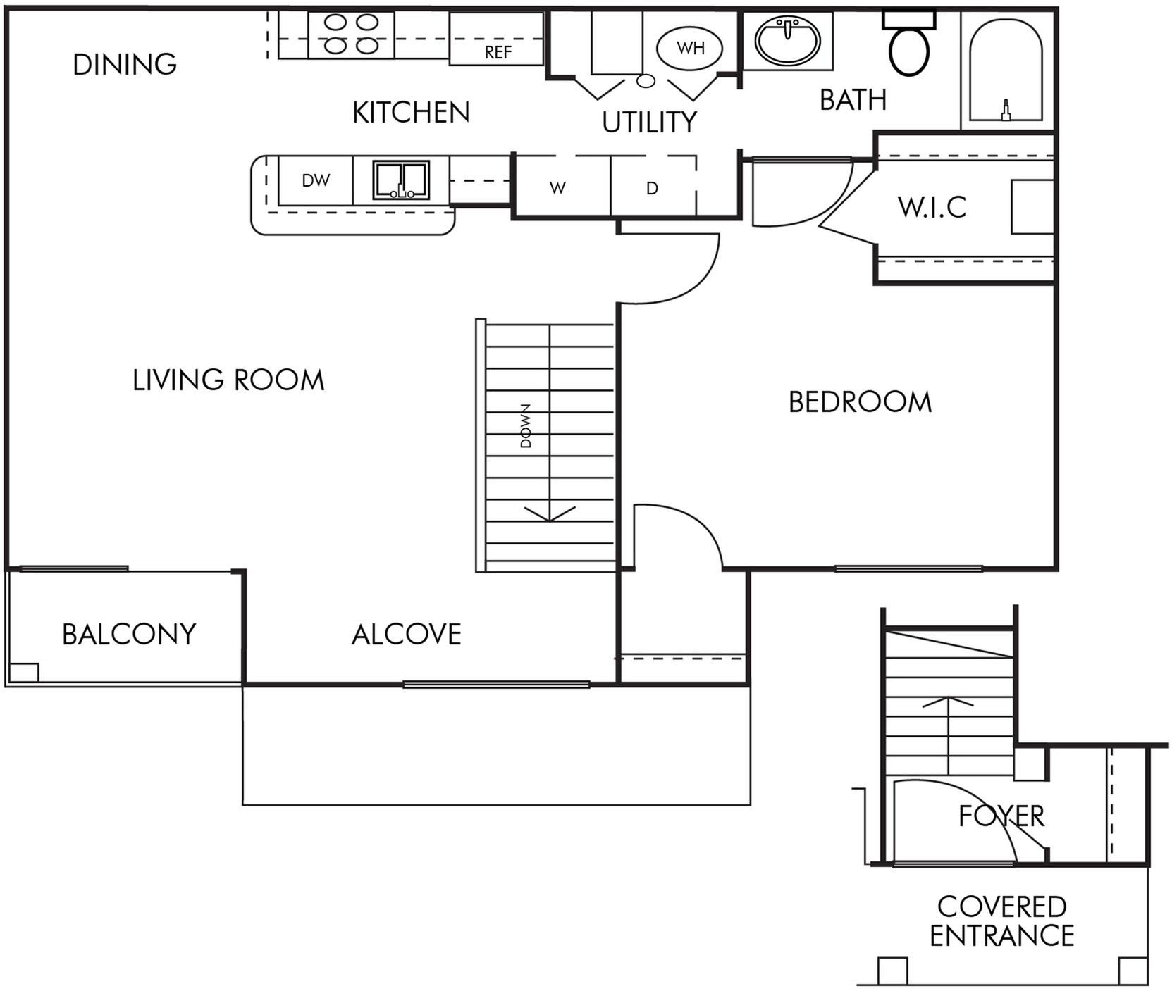 1 Bed 1 Bath- 2nd floor