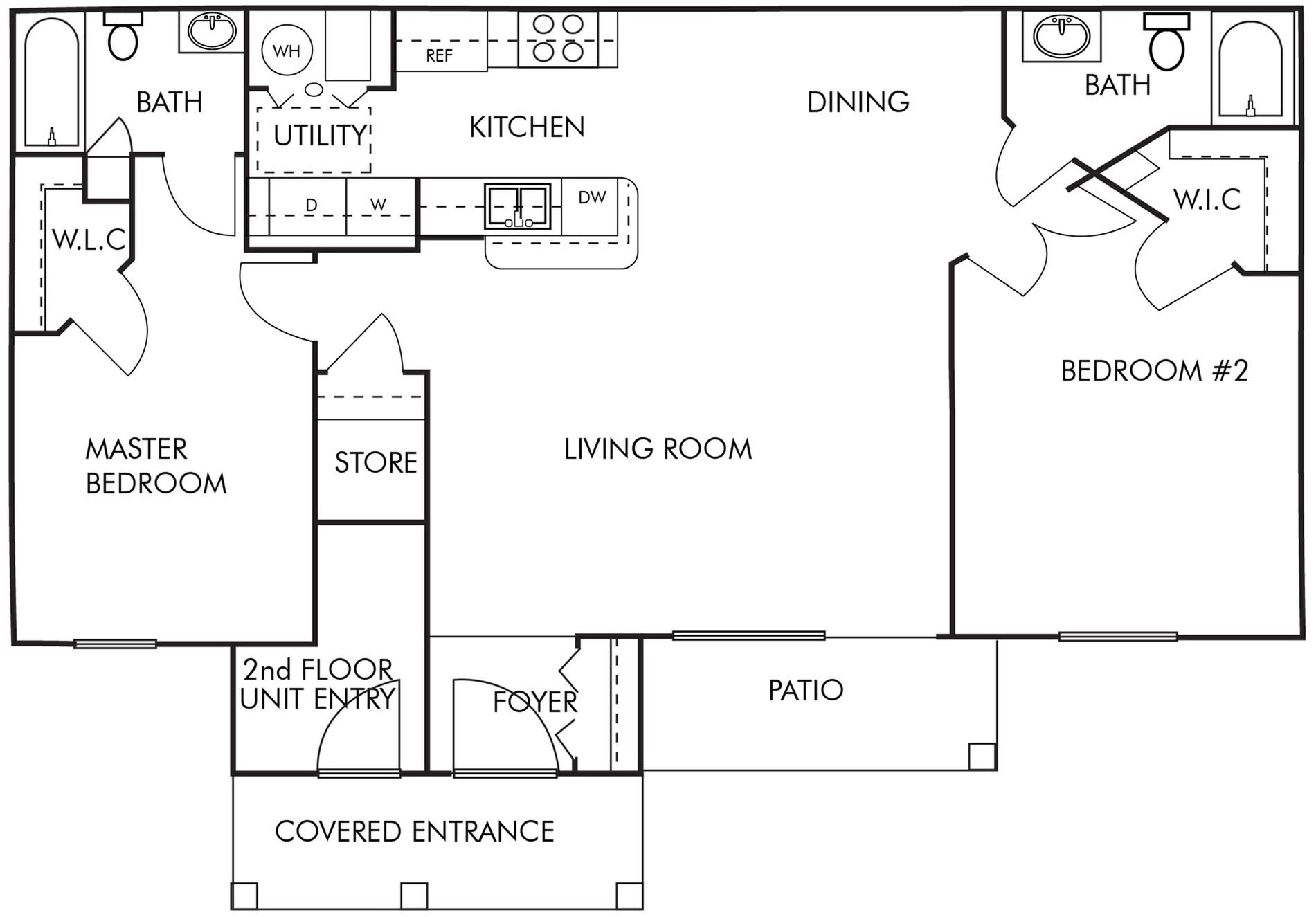 2 Bed 2 Bath- 1st Floor