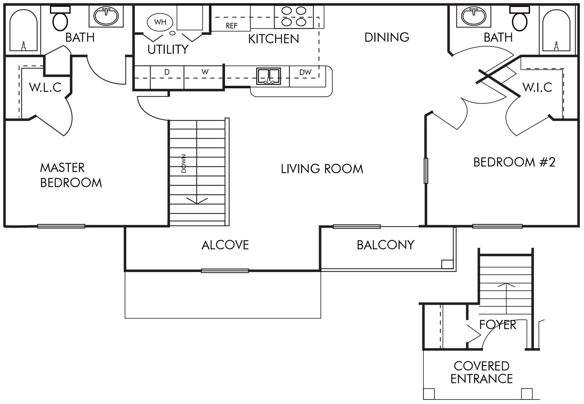 2 Bed, 2 Bath- 2nd Floor