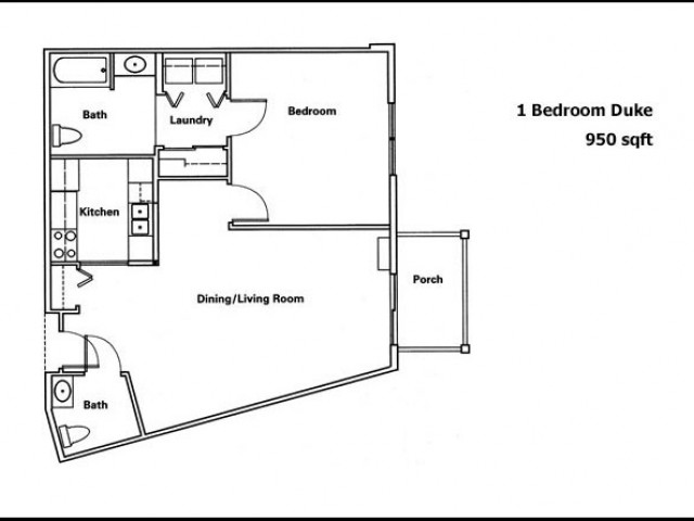 Duke- 1 Bedroom 1.5 Bath