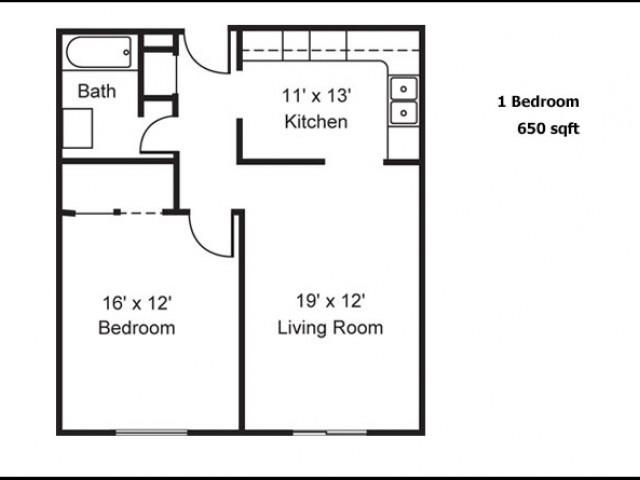 1 bedroom 650 sq ft
