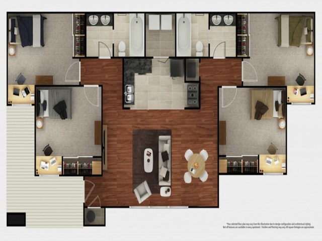 4 Bedroom Floor Plan | The Mark at Lexington | Lexington Off-Campus Housing