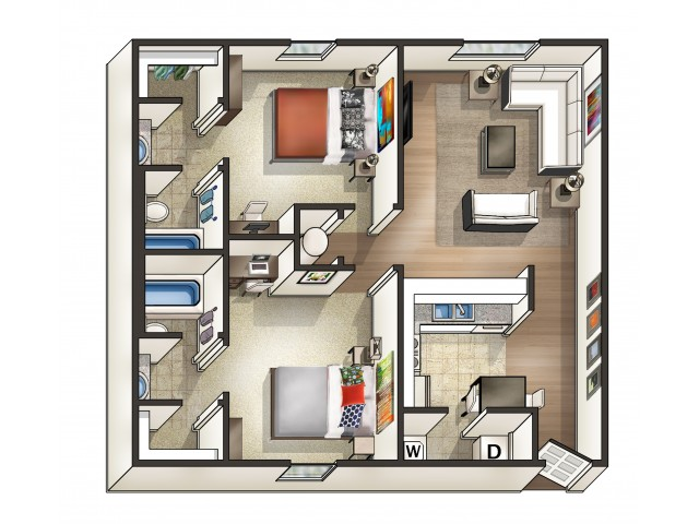 B1 Floor Plan | 2 Bedroom Floor Plan | Eagles West | AU Off Campus Apartments