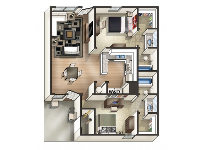 B3 Floor Plan | 2 Bedroom/2 Bath Floor Plan | Eagles West | Student Apartments Auburn AL