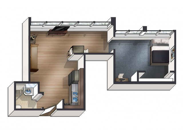 A6 Floor Plan | University Plaza  | Apartments Near NIU