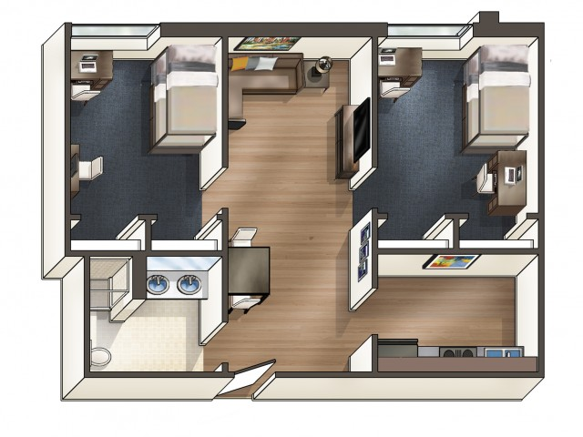 B5 Floor Plan | University Plaza  | NIU Apartments