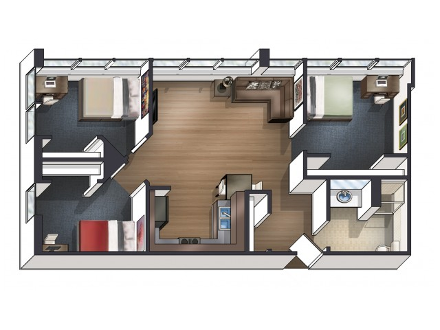 C1 Floor Plan | University Plaza  | NIU Apartments
