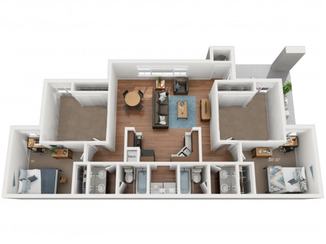 B6D - 2 Bedroom With Private Bonus Room | The Preserve at Tuscaloosa | Apartments Near University of Alabama
