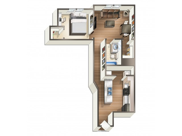 A1 - 1 Bedroom | Floor Plan 1 | Eagle Flatts | Apartments Near Southern Miss