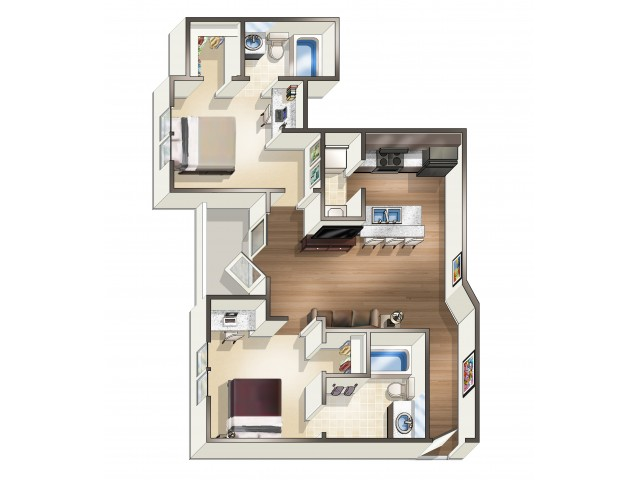 B1 - 2 Bedroom | Floor Plan 2 | Eagle Flatts | Student Apartments In Hattiesburg MS