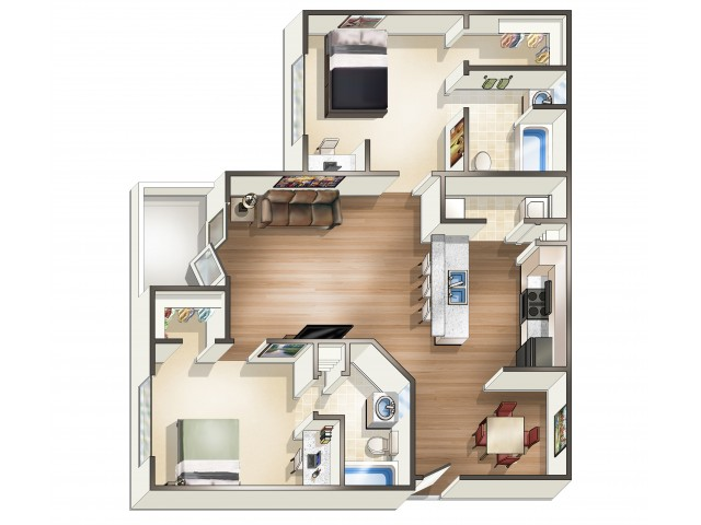 B2 - 2 Bedroom | Floor Plan 3 | Eagle Flatts | Apartments Near USM