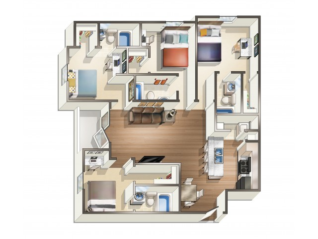 D1 - 4 Bedroom | Floor Plan 4 | Eagle Flatts | USM Off Campus Housing