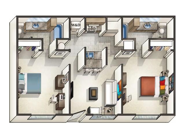 B1 - 2 Bedroom | Floor Plan 3 | Legacy Student Living | Tallahassee Student Apartments