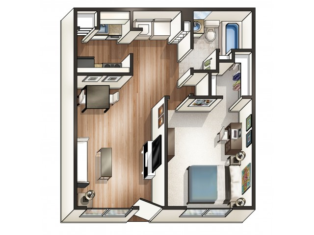 A1 - 1 Bedroom | Floor Plan 1 | Raiders Walk | Student Apartments Lubbock