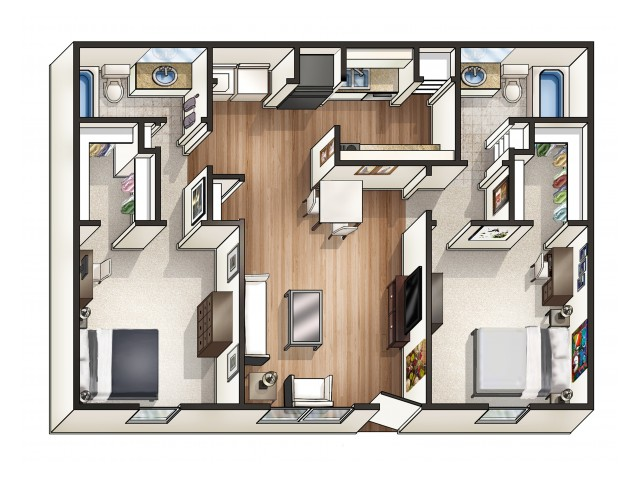 B1 - 2 Bedroom | Floor Plan 3 | Raiders Walk | Apartments Lubbock TX