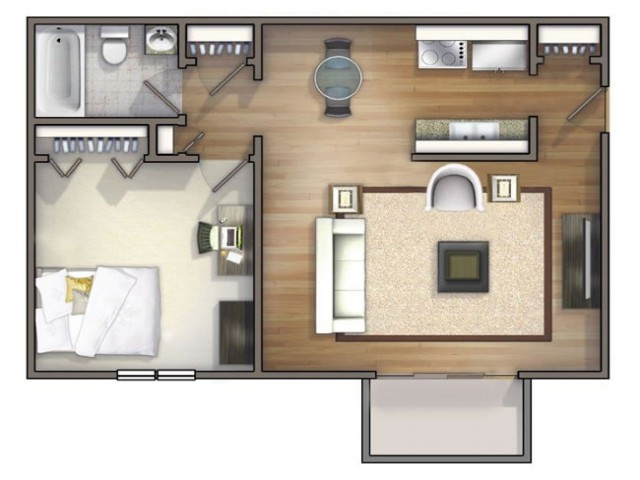 A1 - 1 Bedroom | University Oaks | Kent State Apartments