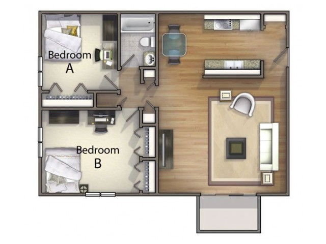 B1 - 2 Bedroom | 2 Bedroom Floor Plan | University Oaks | Apartments Kent Ohio