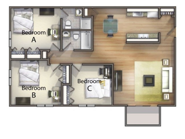C2 - 3 Bedroom | University Oaks | Kent State Apartments