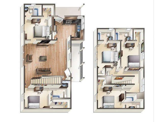 E1 - 5 Bedroom | The Cottages of Hattiesburg | USM Apartments
