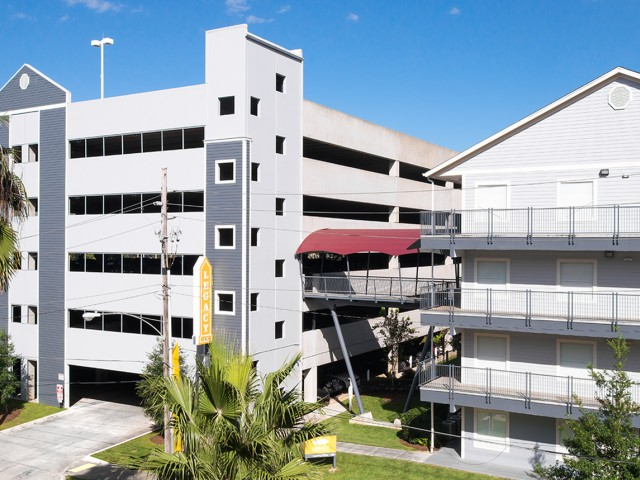 Private Parking Garage with Sky Bridge Access | Legacy Student Living | FSU Off Campus Apartments