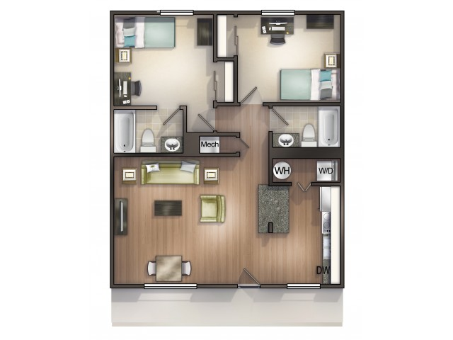 B1 Floor Plan |Seminole Flatts | 2 Bedroom Apartments Tallahassee