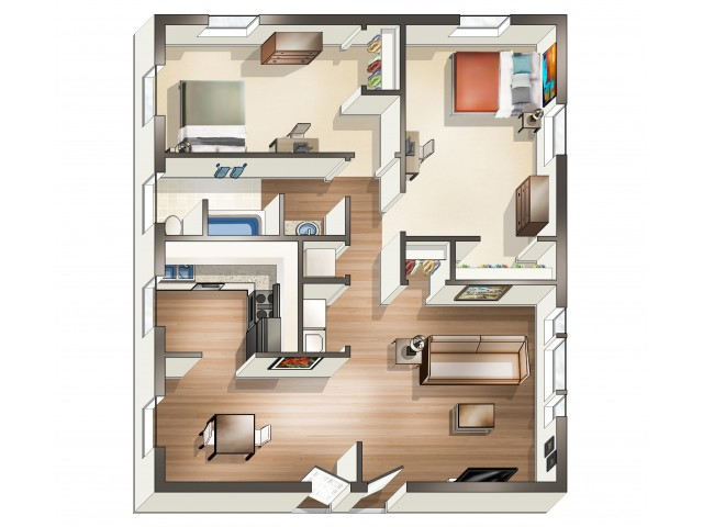 B2 Floor Plan | 2 Bdrm Floor Plan | University Park | Apartments Near ECU