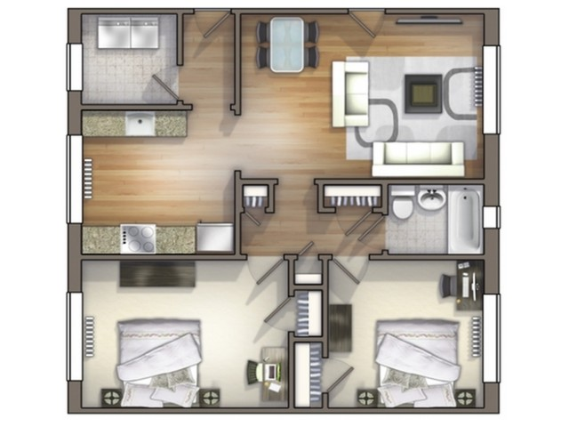 B1 Floor Plan | Floor Plan 12 | University Apartments Durham | Apartments In Durham NC
