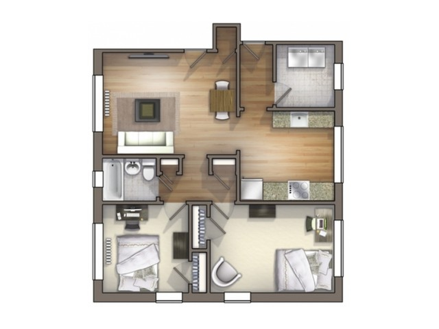 B2 Floor Plan | Floor Plan 13 | University Apartments Durham | 2 Bedroom Apartments In Durham NC