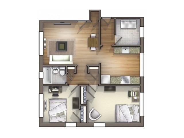B2 Floor Plan | Floor Plan 13 | University Apartments Durham | 2 Bedroom Apartments In Durham NC