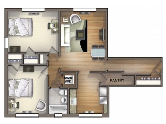 B3 Floor Plan | Floor Plan 14 | University Apartments Durham | Apartments Near Duke University
