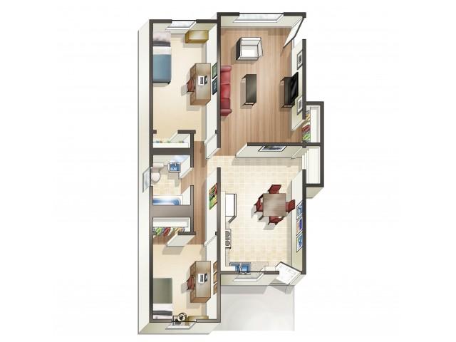 B6 Floor Plan | Floor Plan 16 | University Apartments Durham | Apartments Near Duke University