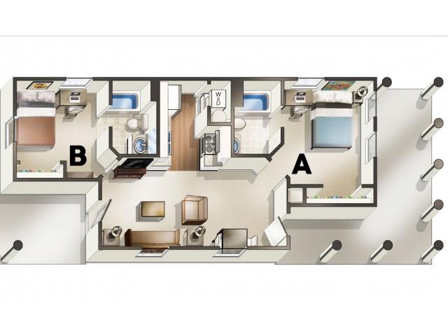 B1 Floor Plan | 2 Bedroom Floor Plan | The Quarters | Student Housing In Lafayette LA