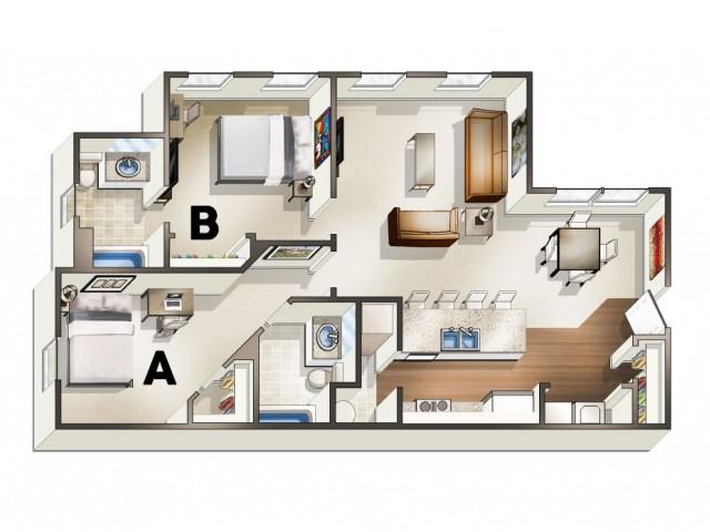 B2 Floor Plan | 2 Bdrm Floor Plan | The Quarters | Apartments Near University Of Louisiana At Lafayette