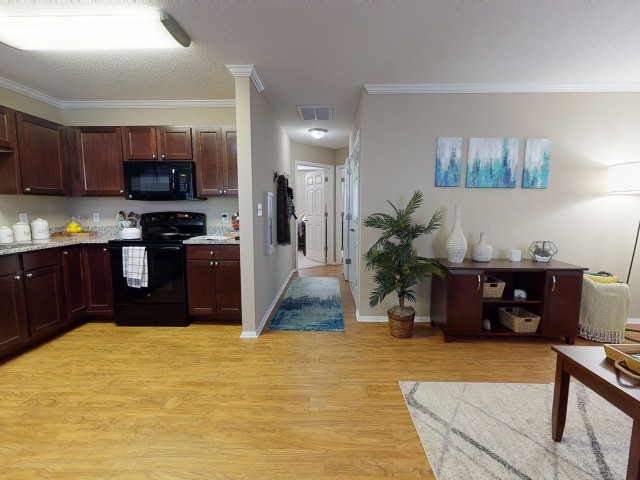 Faux-wood Flooring in Kitchen   University Park   2 Bedroom Apartments In Greenville NC