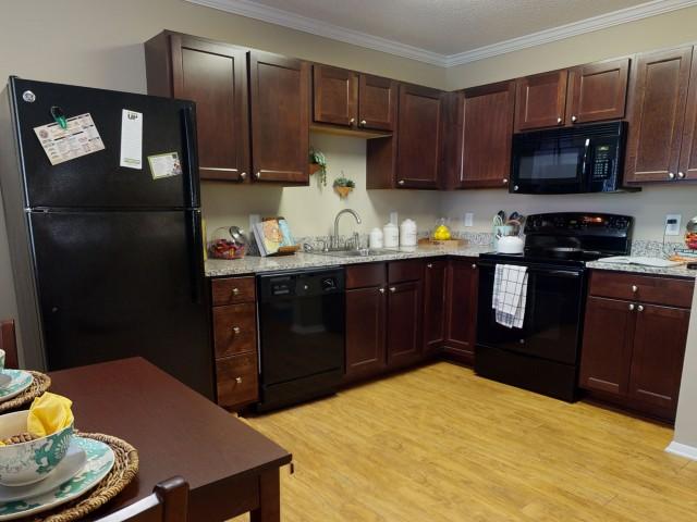 Black-on-Black Appliances   Kitchen   University Park   Student Apartments Greenville NC