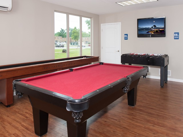 Billiard Table, Shuffleboard Table, Foosball Table in Game Room | University Village | Apartments In Carbondale IL
