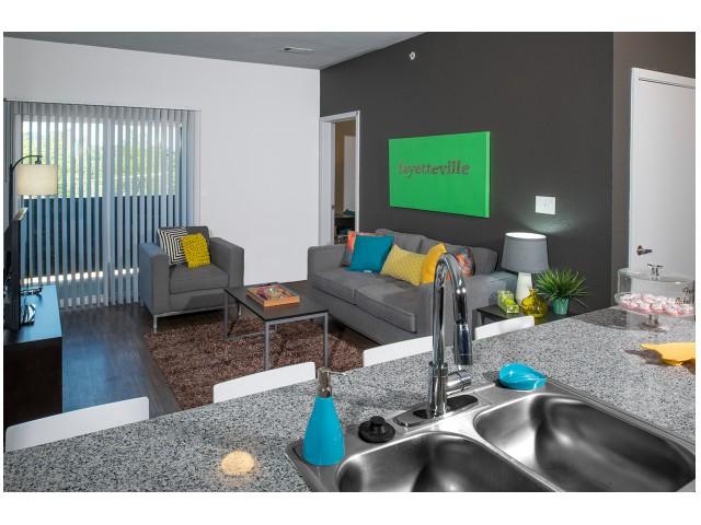 Granite Countertops | Modern Kitchen | The Cardinal at West Center | Apartments near University Of Arkansas