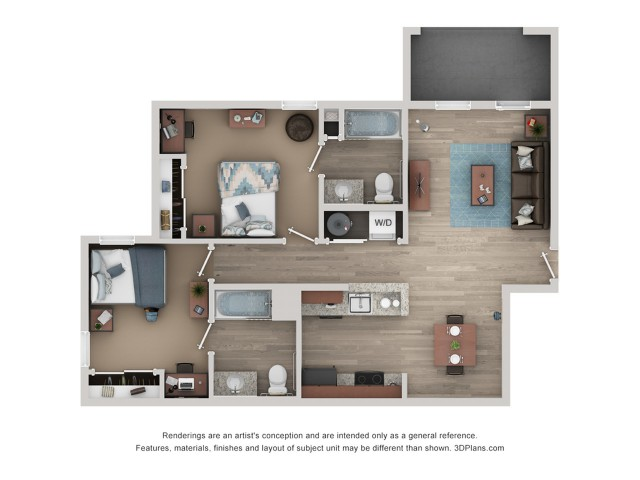 B1 Floor Plan | 2 Bedroom Floor Plan | Flatts at South Campus | 1,  2, 3, & 4 Bedroom Apartments Oxford MS