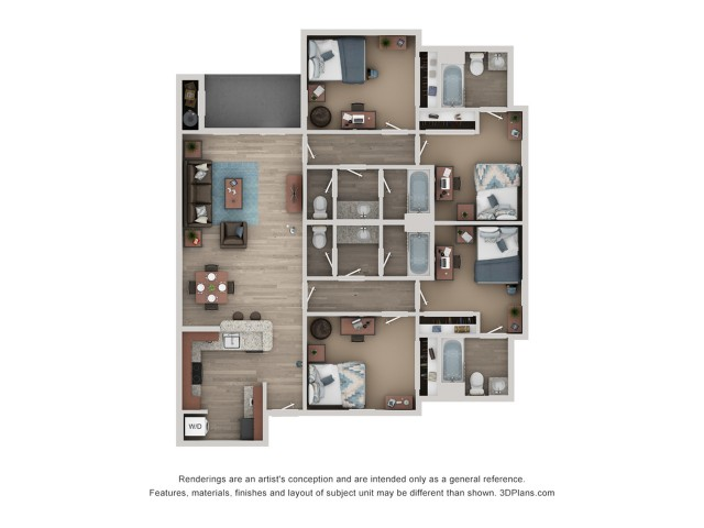 D1 Floor Plan | 4 Bdrm Floor Plan | Flatts at South Campus | Off Campus Apartments Oxford MS