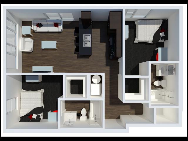 B2 Floor Plan | 2 Berm Floor Plan | The Cardinal at West Center | U of A Apartments Fayetteville AR